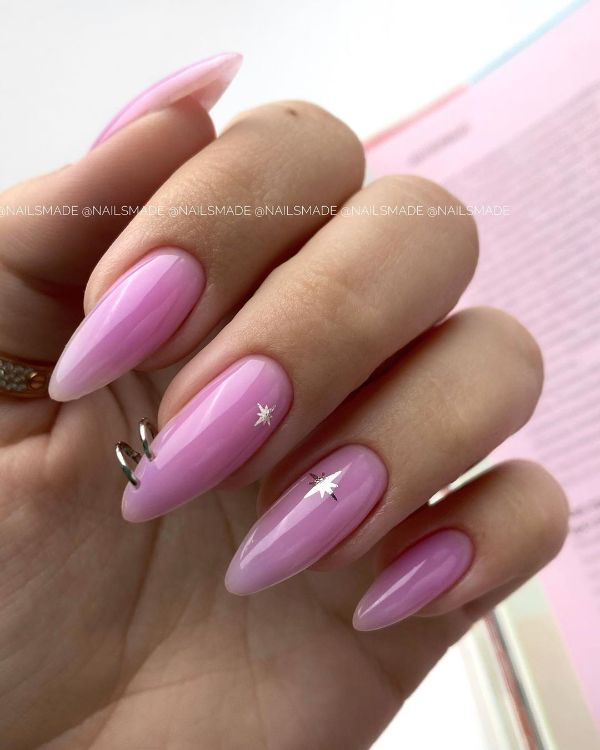 Pastel Purple Nails Design with Piercing