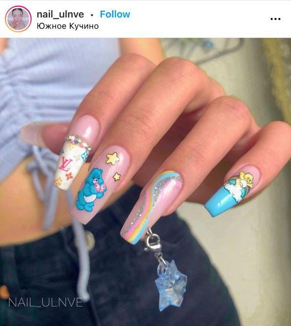 Blue Pierced Nails