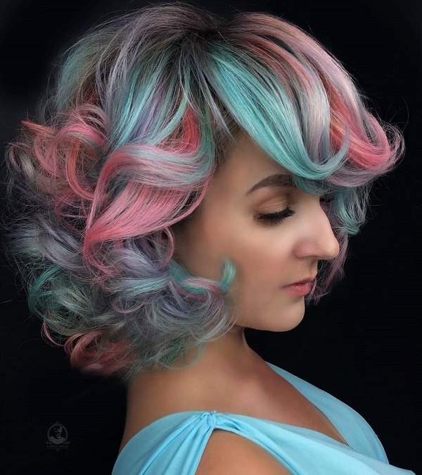 Blue and Pink Short Curled Hairstyle