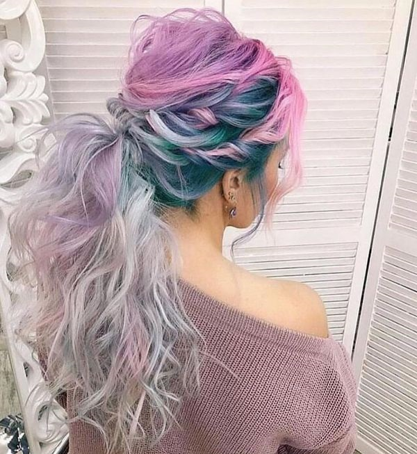 Blue and Pink Twisted Ponytail