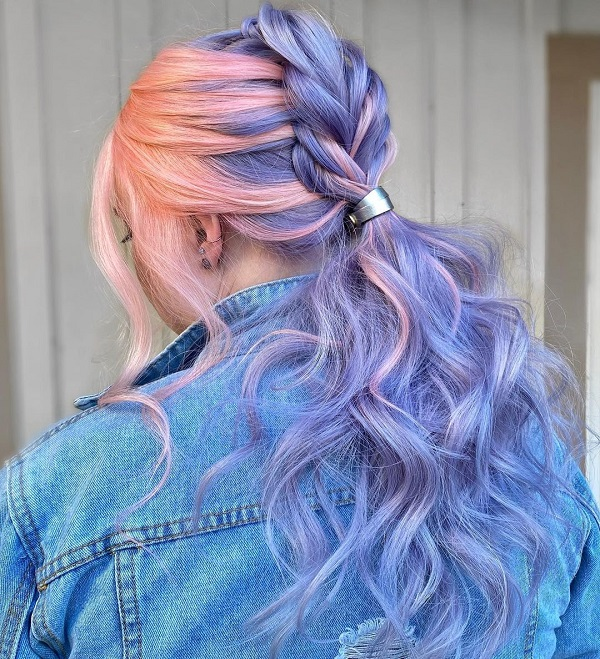 Blue and Pink Hairstyle with a Braid