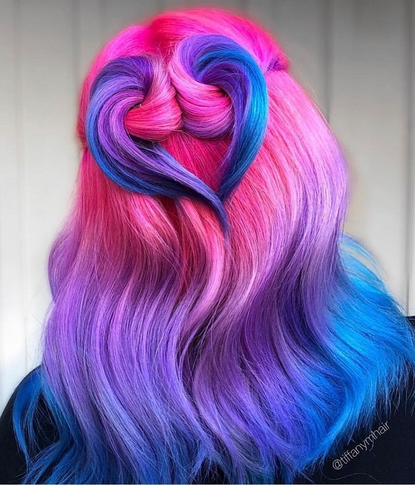 Pink and Blue Hairstyle Shoulder-Length