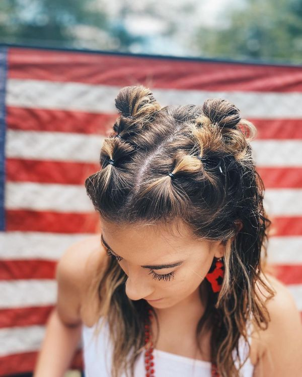 4th of July Hairstyle with Cute Braids