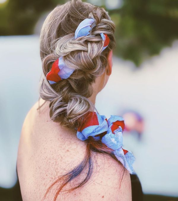 4th of July Hair with a Scarf in Patriotic Colors