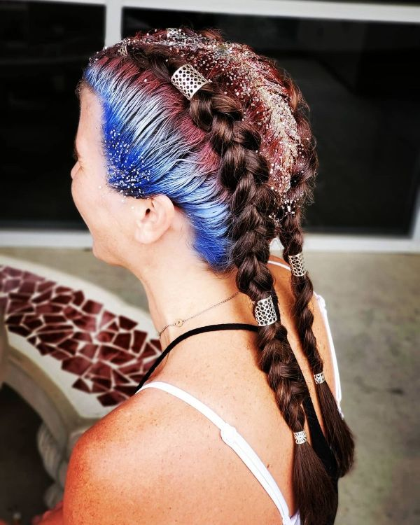 4th of July Hair with Glitter