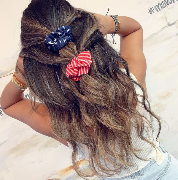 4th of July Hairstyle with  Scrunchies