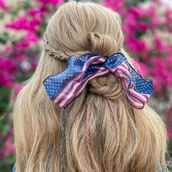 4th of July Hair with Patriotic Bows