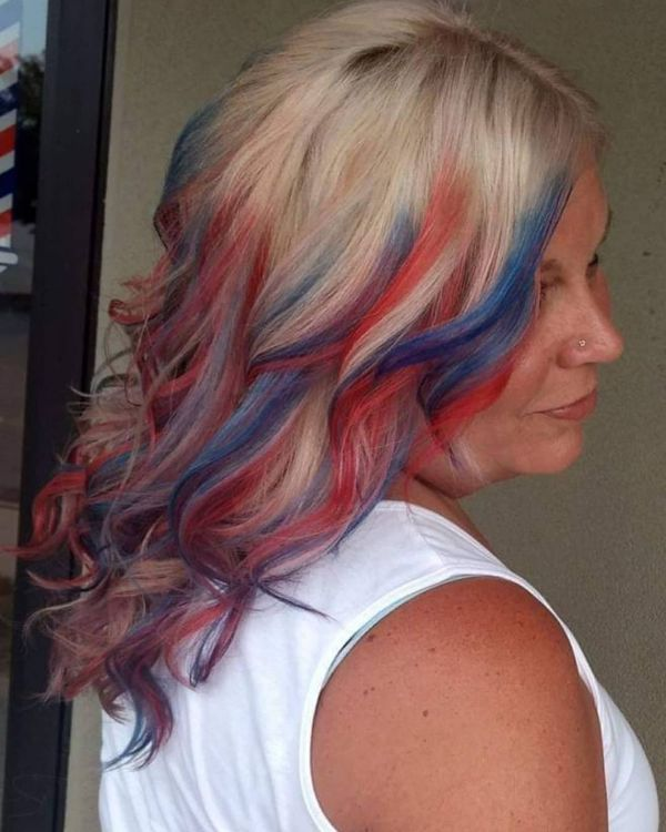 4th of July Hair with Patriotic Highlights in Red, Blue and White Colors