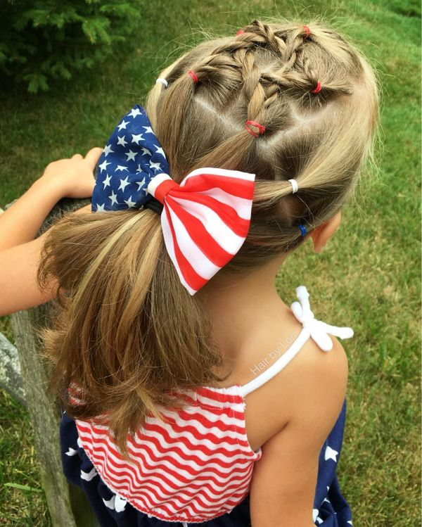 4th of July Hairstyle with Bows