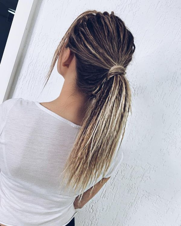 Eco Dreads in Middle Ponytail