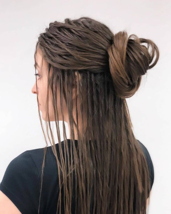 Eco Dreads Half Updo Hairstyle