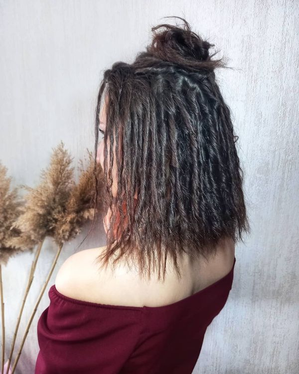 Eco Dreads Half Updo Top Knot