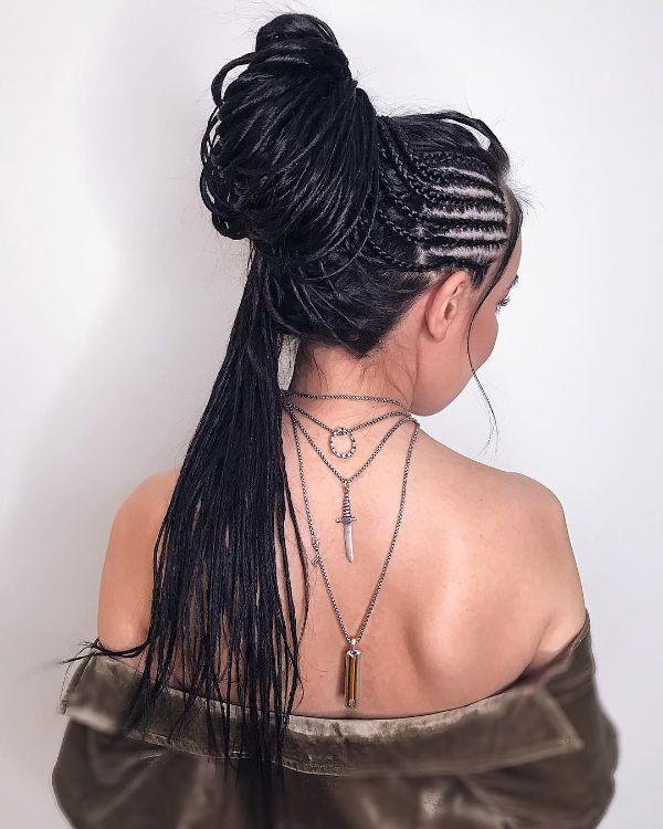 Black Eco Dreads in a Bun