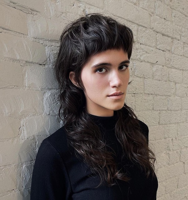 Long Shaggy Mullet Haircut with Blunt Fringe